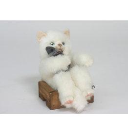 Hansa Witte Pluche Kat op kistje