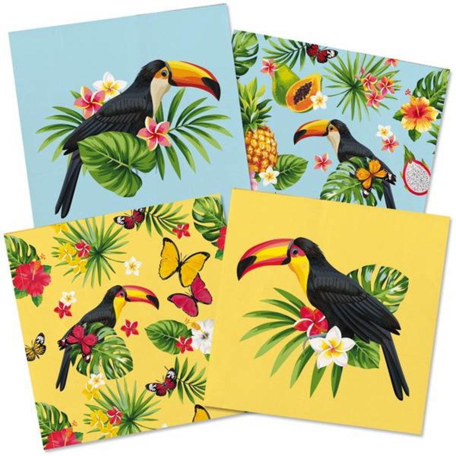 Tropische servetten bedrukt met een Toekan