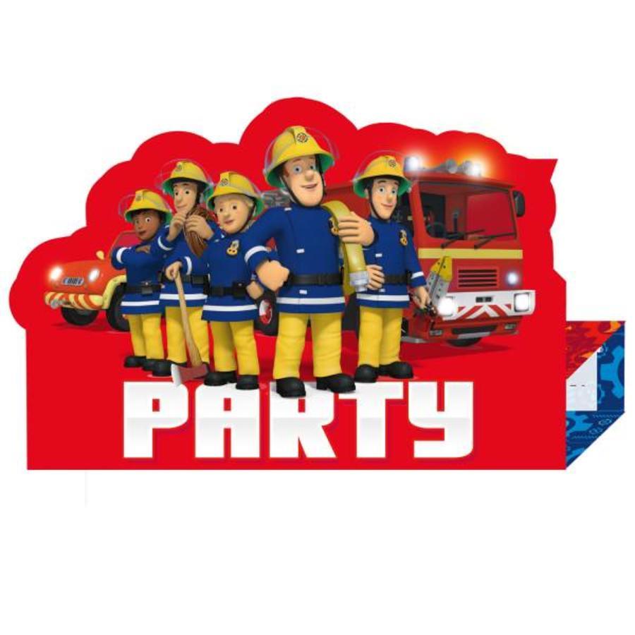 Uitnodigingskaartjes Brandweerman Sam