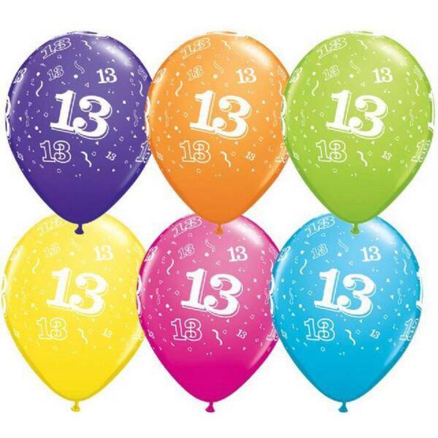 13 jaar ballonnen rondom bedrukt 25 stuks