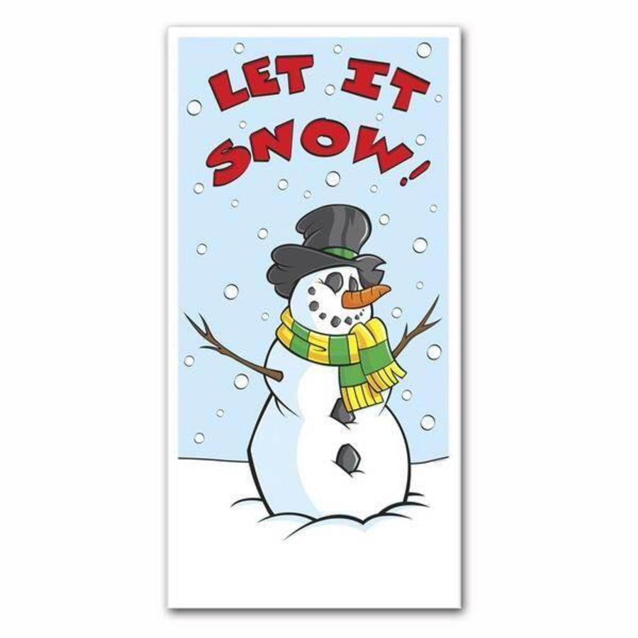 Deurposter sneeuwpop Let it snow