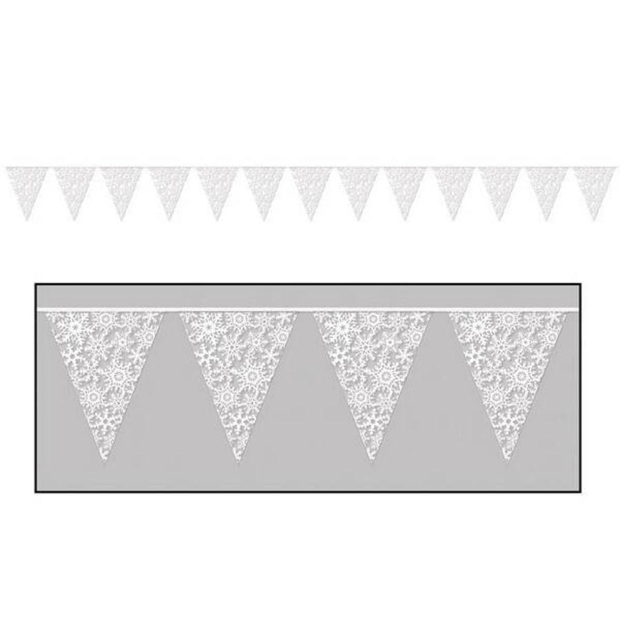Vlaggenlijn met sneeuwvlokken