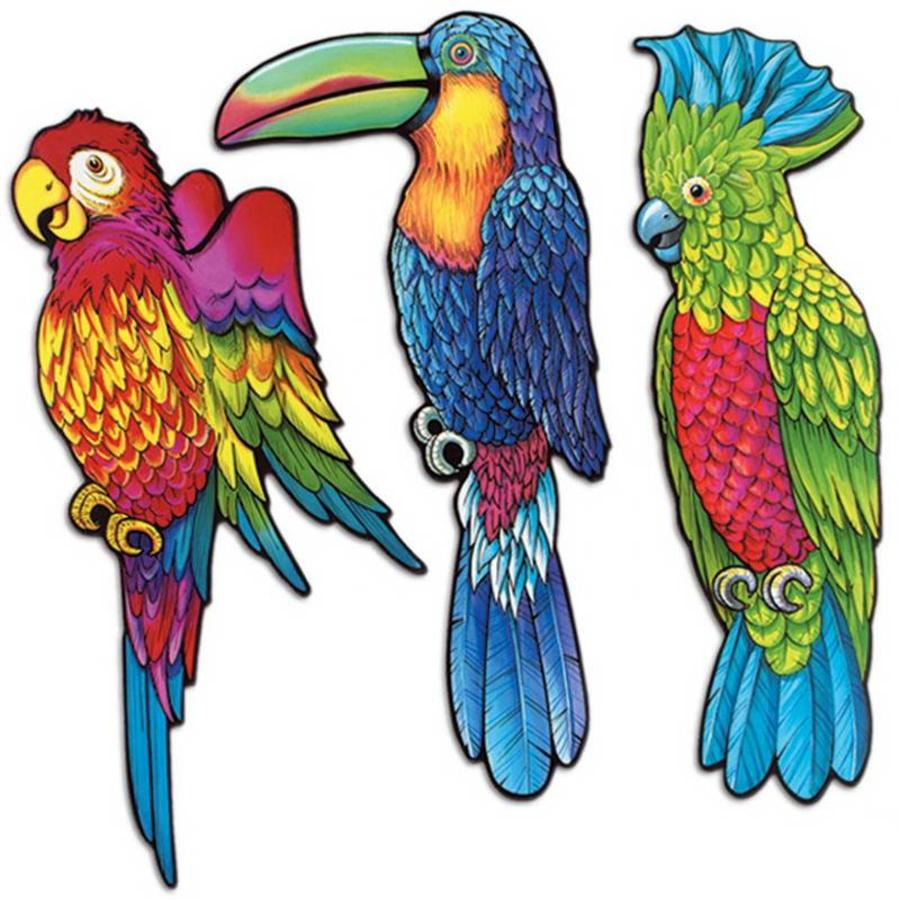 Decoratie tropische vogels 3 stuks