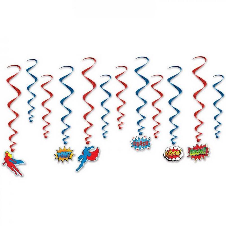 Hangdecoratie Superhelden Whirls 12 stuks