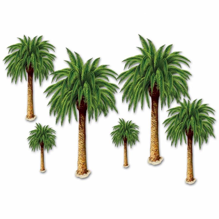 Wanddecoraties palmbomen 6 stuks