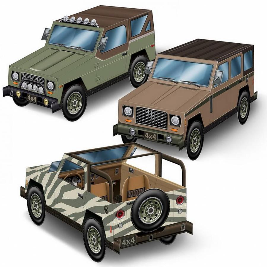 Tafeldecoraties Jeep Safari auto`s 3D