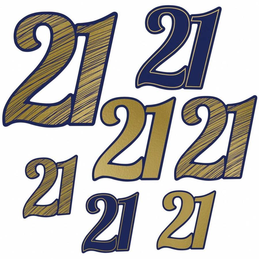 Decoratie cijfers 21 jaar donkerblauw met goud