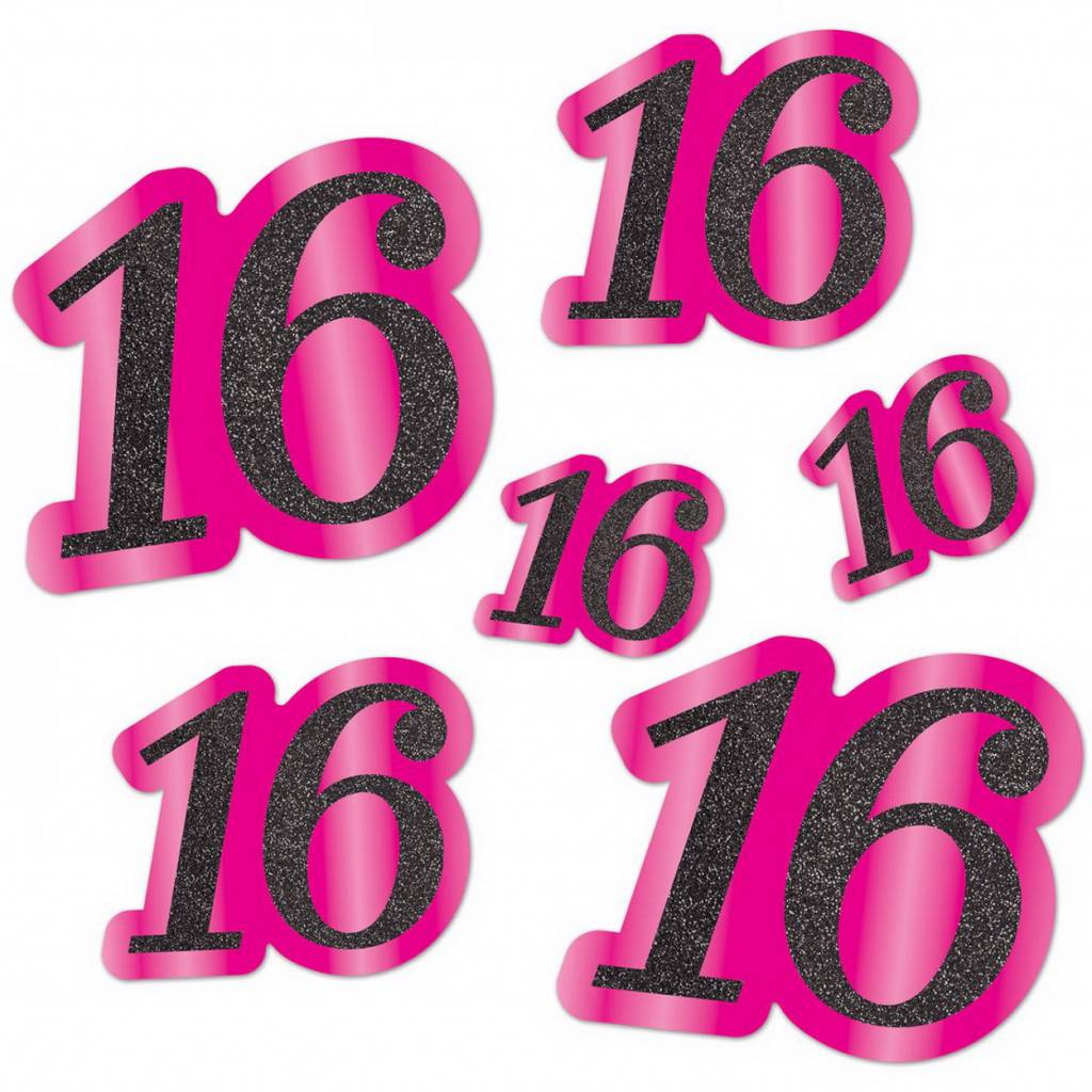 Decoratie cijfer Sweet 16 pink-zwart