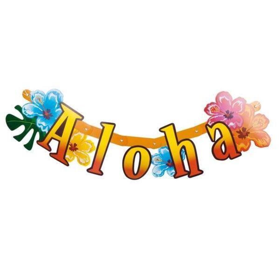 Letterslinger Aloha met bloemen