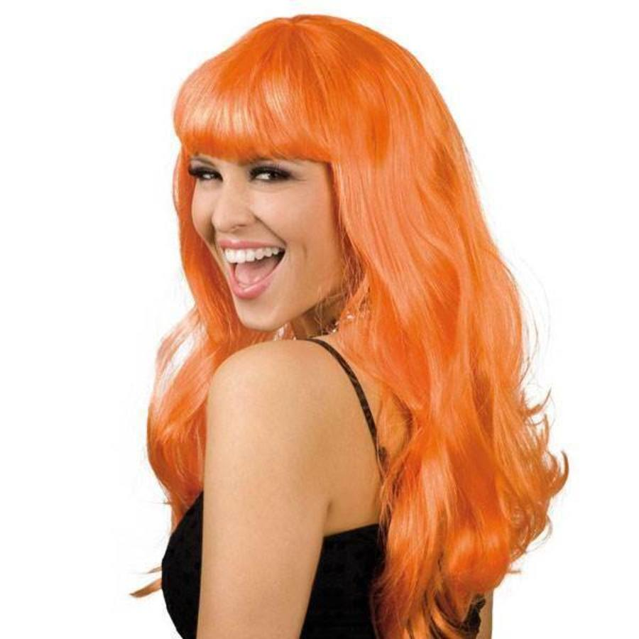 Pruik lang haar met pony oranje