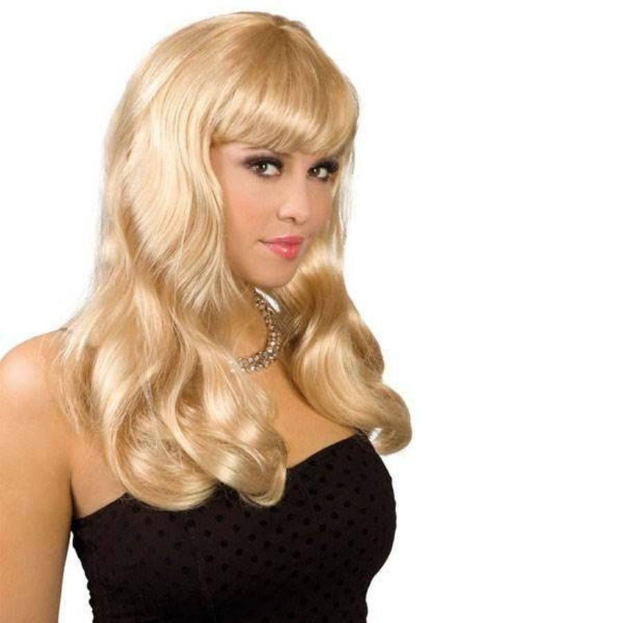 Pruik lang haar met pony blond