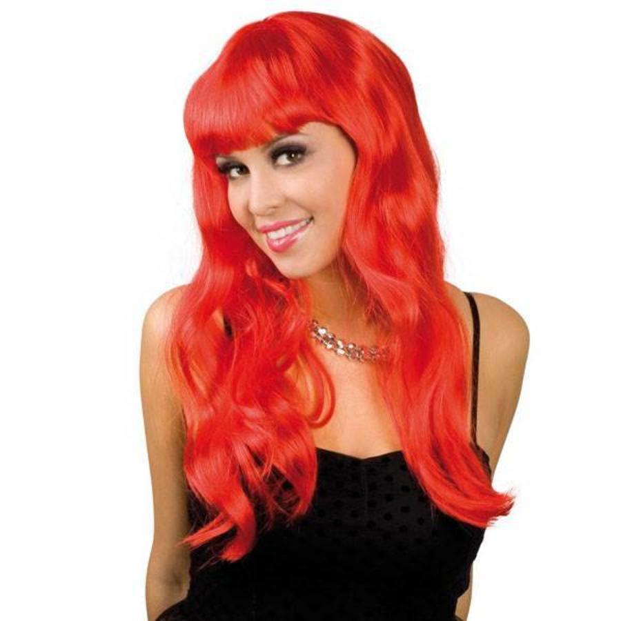 Pruik lang haar met pony rood