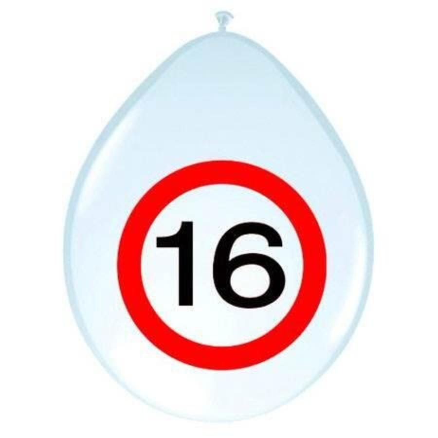 Ballonnen 16 jaar verkeersbord