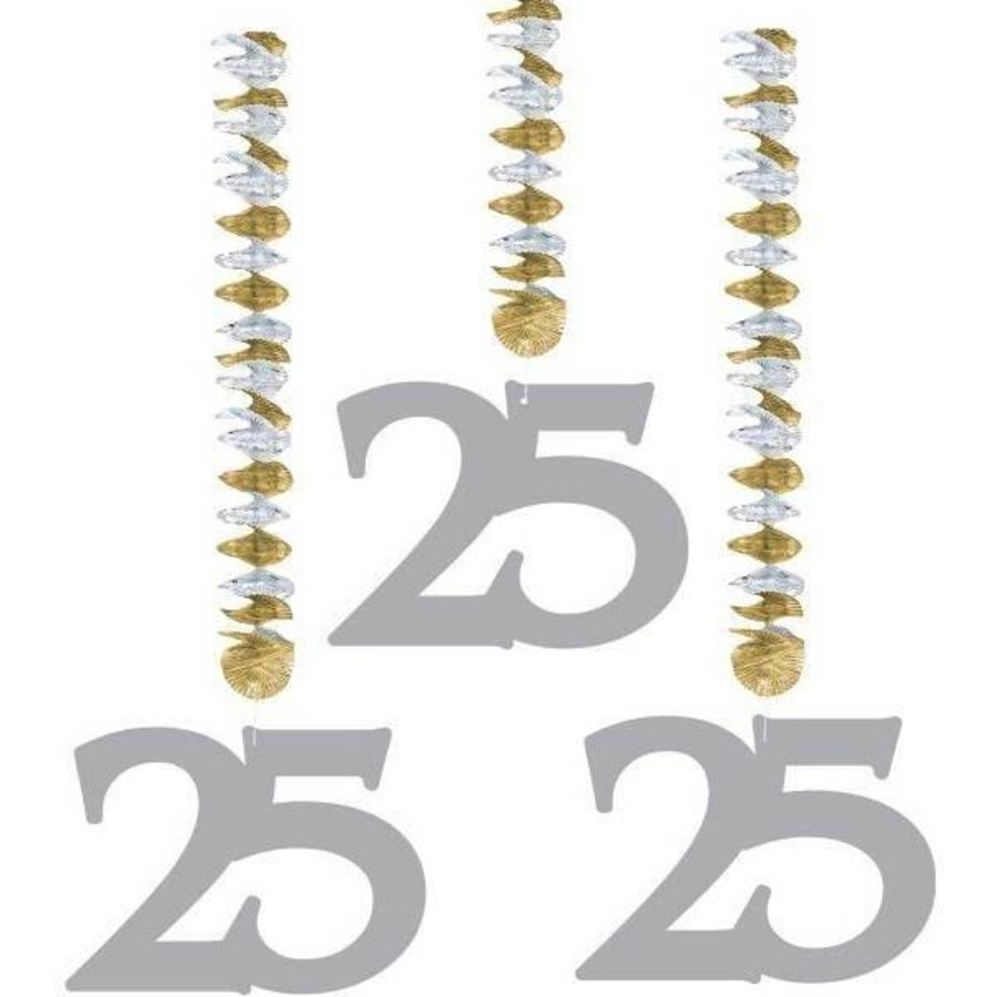 Decoratie hangende cijfers 25 zilver