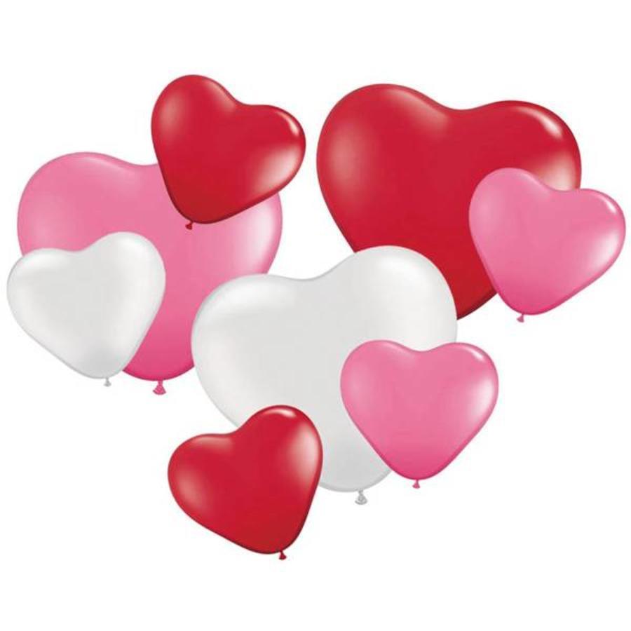 Hartballonnen groot en klein 8 stuks