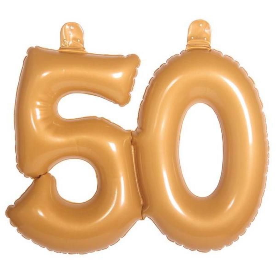 Opblaasbaar cijfer 50 goudkleurig groot
