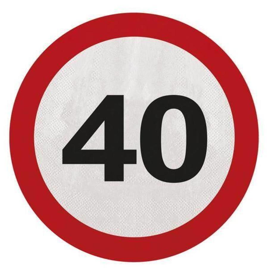 Servetten 40 jaar verkeersbord