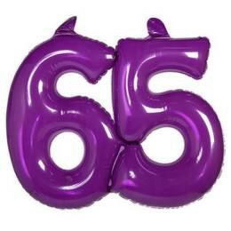Opblaasbaar cijfer 65 paars