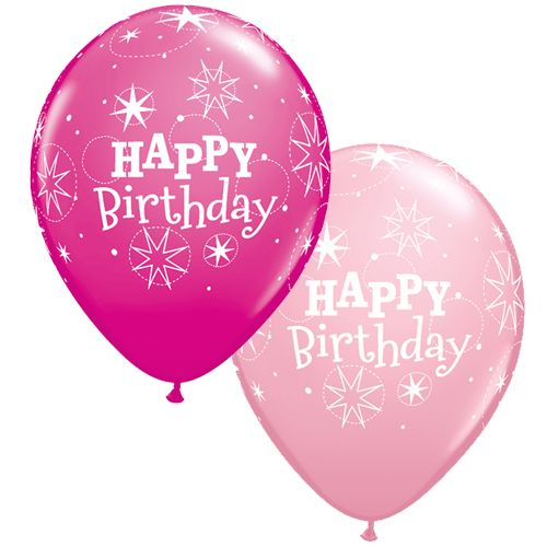 Ballon happy birthday 5 stuks roze