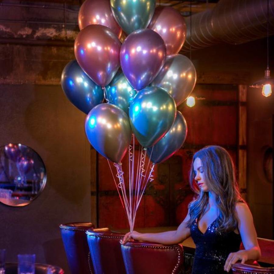 Chrome ballonnen 12 stuks gekleurd