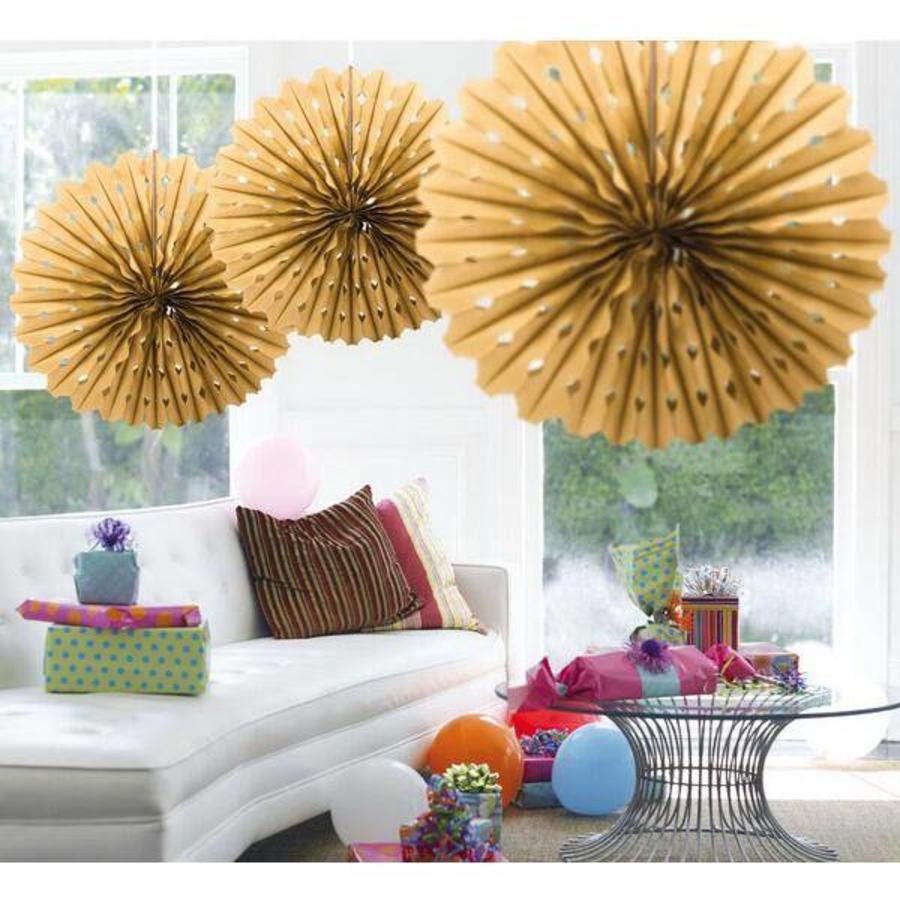 Honeycomb waaier 45cm goudkleurig