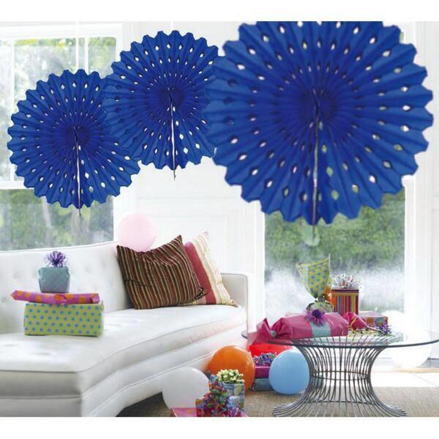 Honeycomb waaier 45cm donkerblauw