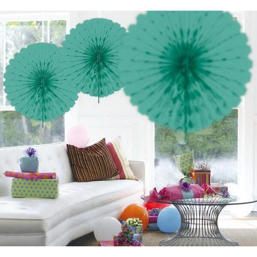 Honeycomb waaier 45cm turquoise