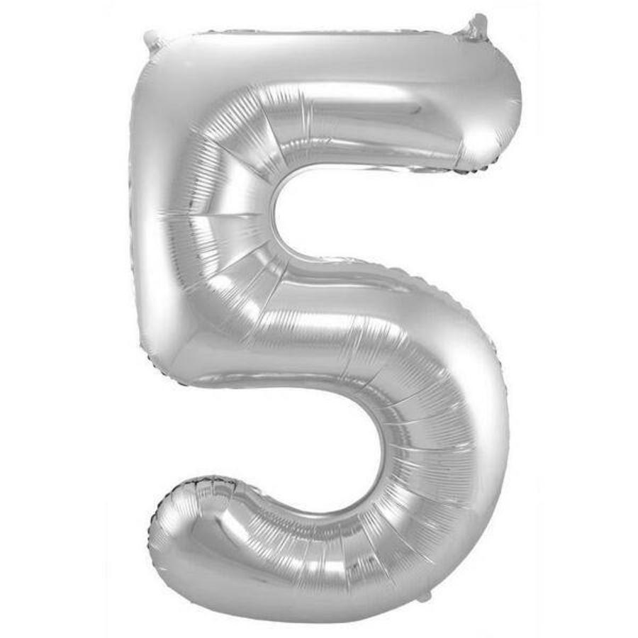 Folieballon 5 jaar ZILVER voor lucht of helium MEGA