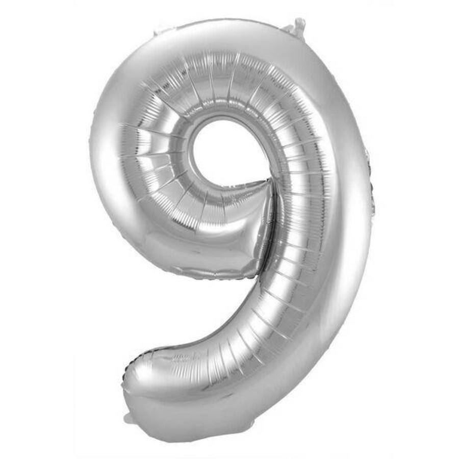 Folieballon 9 jaar ZILVER voor lucht of helium MEGA