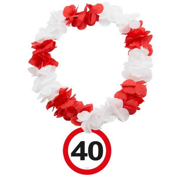 Hawaiikrans 40 jaar rood-wit