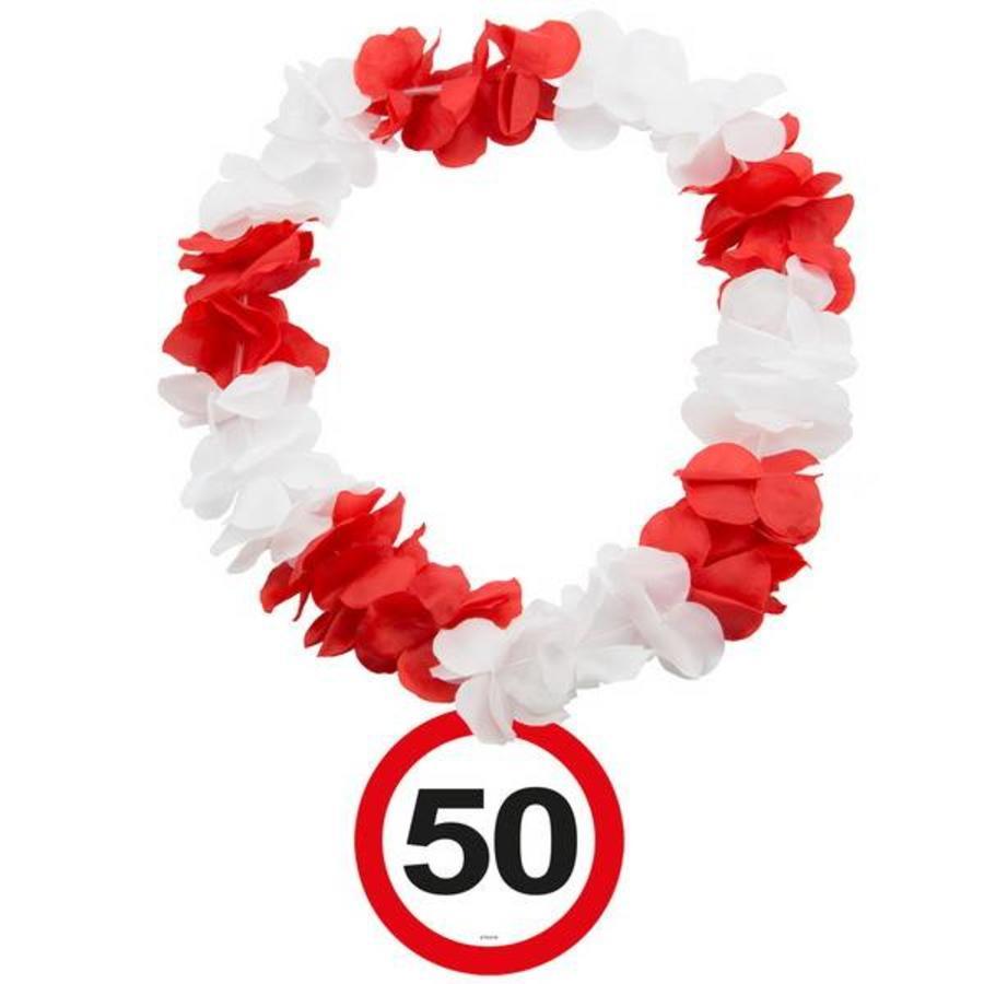 Hawaiikrans 50 jaar rood-wit