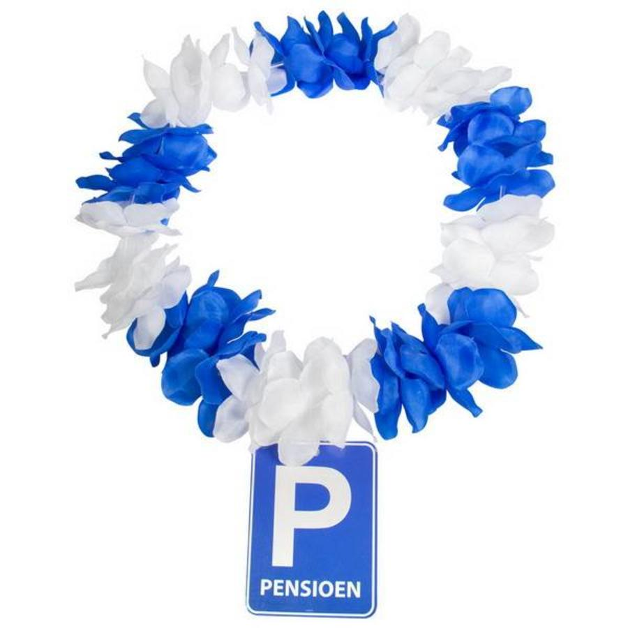 Hawaiikrans Pensioen blauw-wit