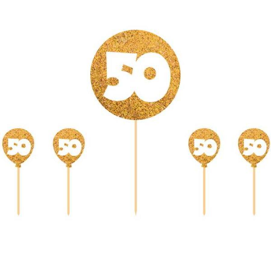 Taart versiering 50 jaar glitter goud