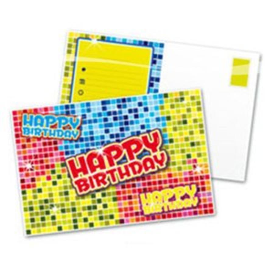 Uitnodigingskaartjes Happy Birthday Blocks
