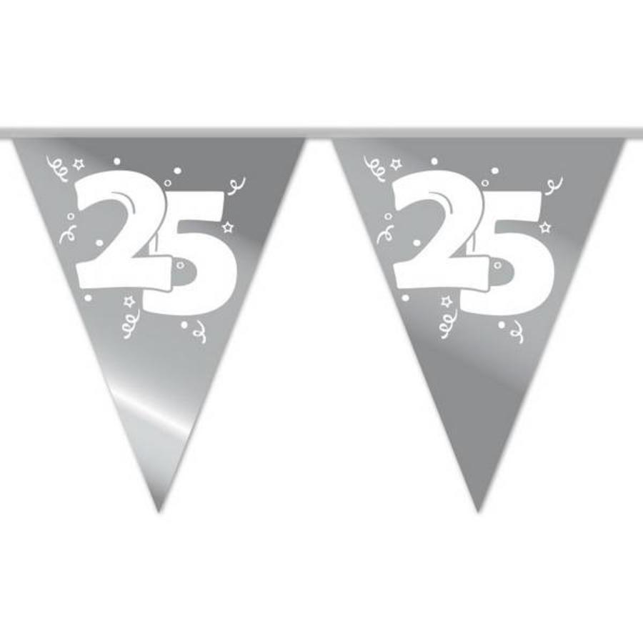 Vlaggenlijn slinger 25 jaar zilverkleurig