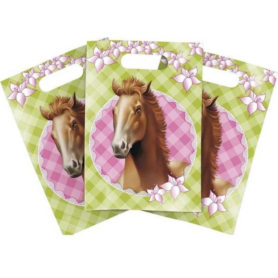Feestzakjes paarden groen-roze