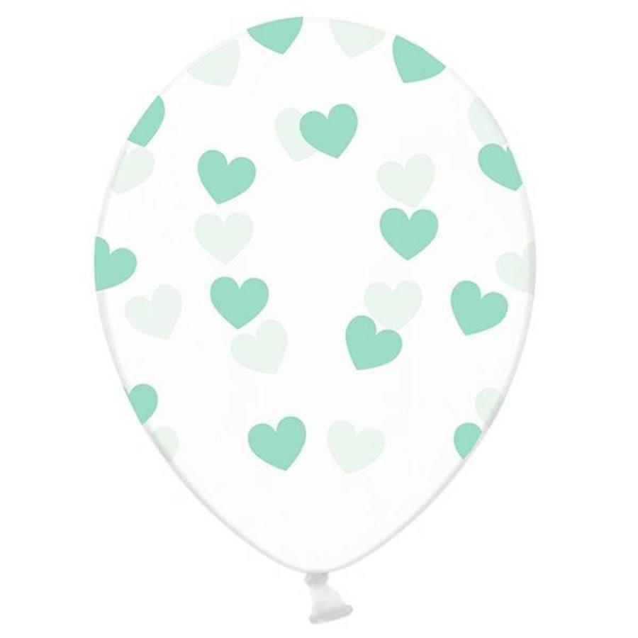 Ballonnen transparant met mintgroene hartjes