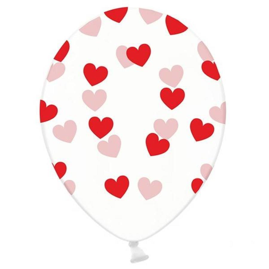 Ballonnen transparant met rode hartjes