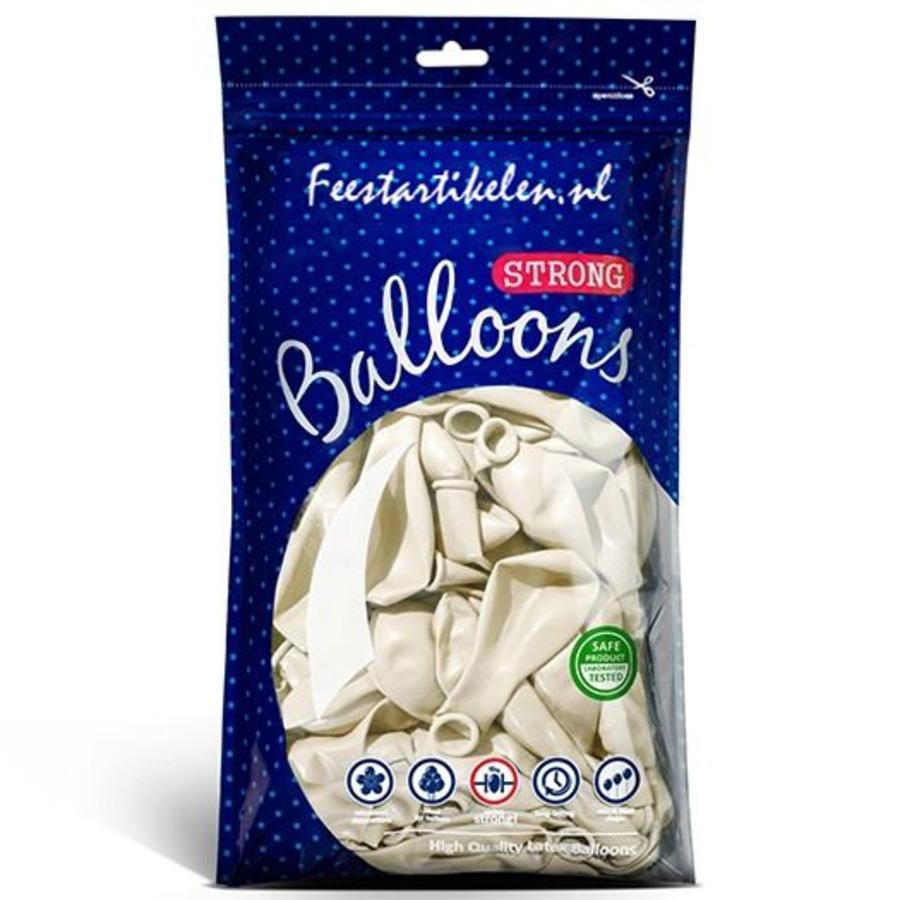 Ballonnen metallic 1e klas parelmoer wit 100 stuks