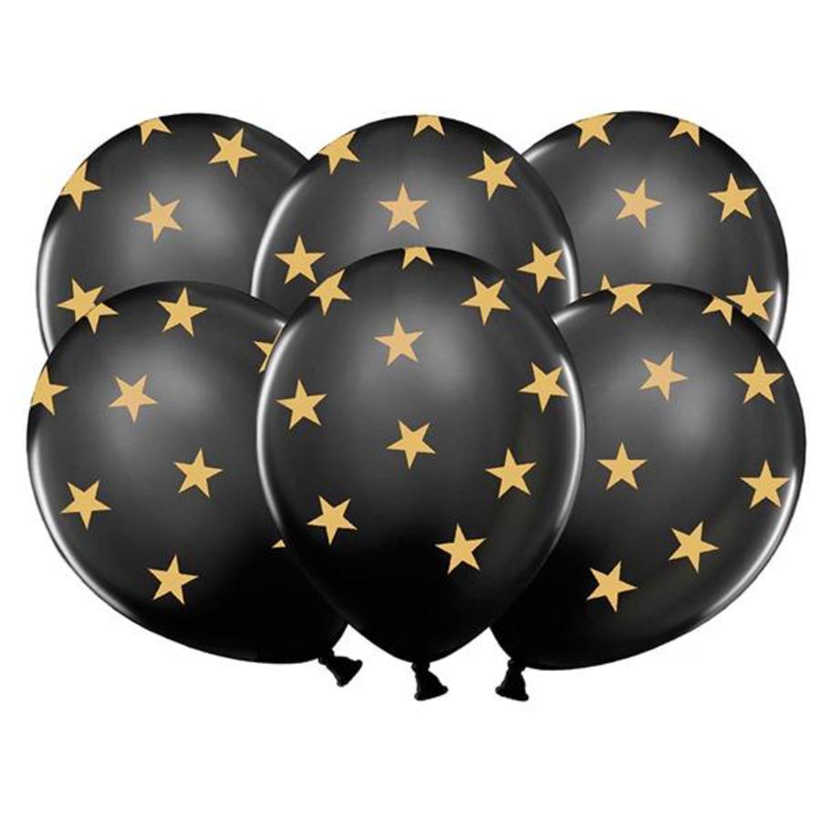Ballonnen zwart met goudkleurige sterren