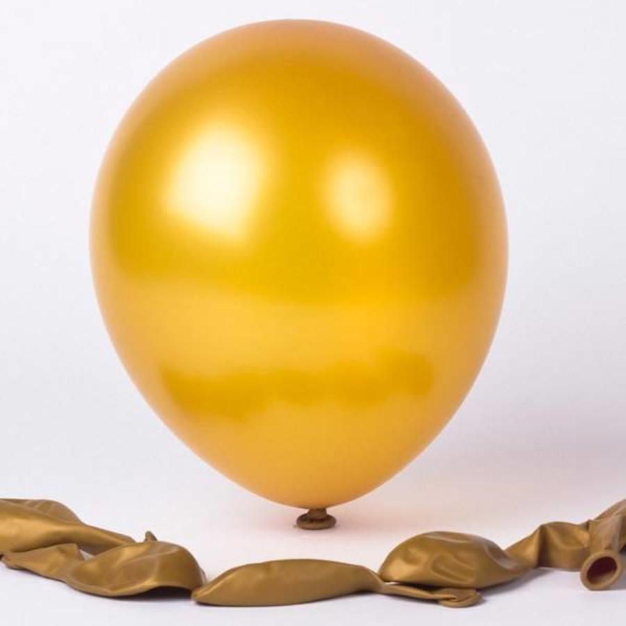 Ballonnen metallic 1e klas goudkleurig 20 stuks