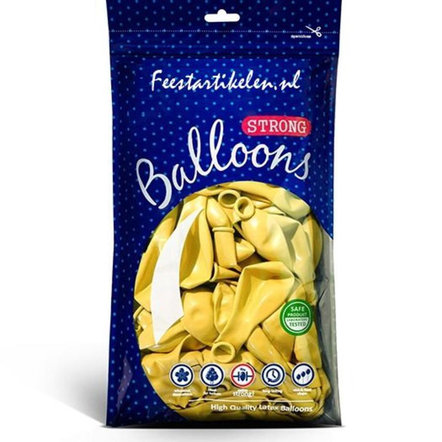 Metallic ballonnen 1e klas geel 100 stuks