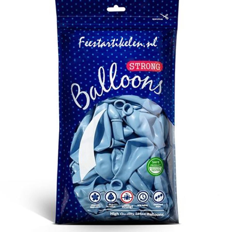 Metallic ballonnen 1e klas lichtblauw 100 stuks