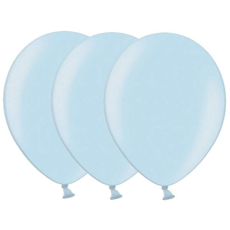 Metallic ballonnen 1e klas lichtblauw 20 stuks