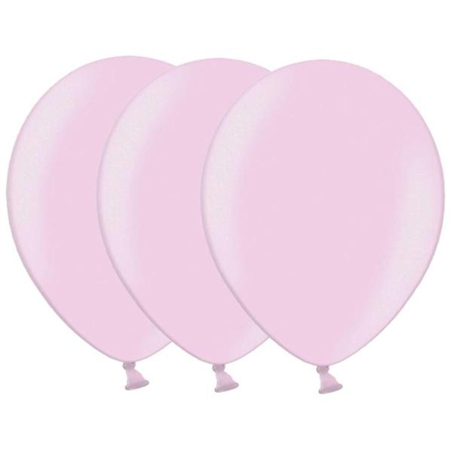 Metallic ballonnen 1e klas lichtroze 20 stuks
