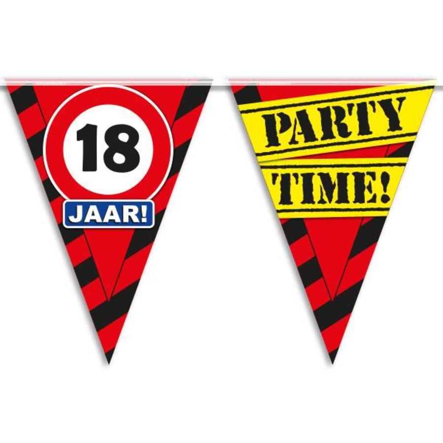 Vlaggenlijn slinger 18 jaar Party Time