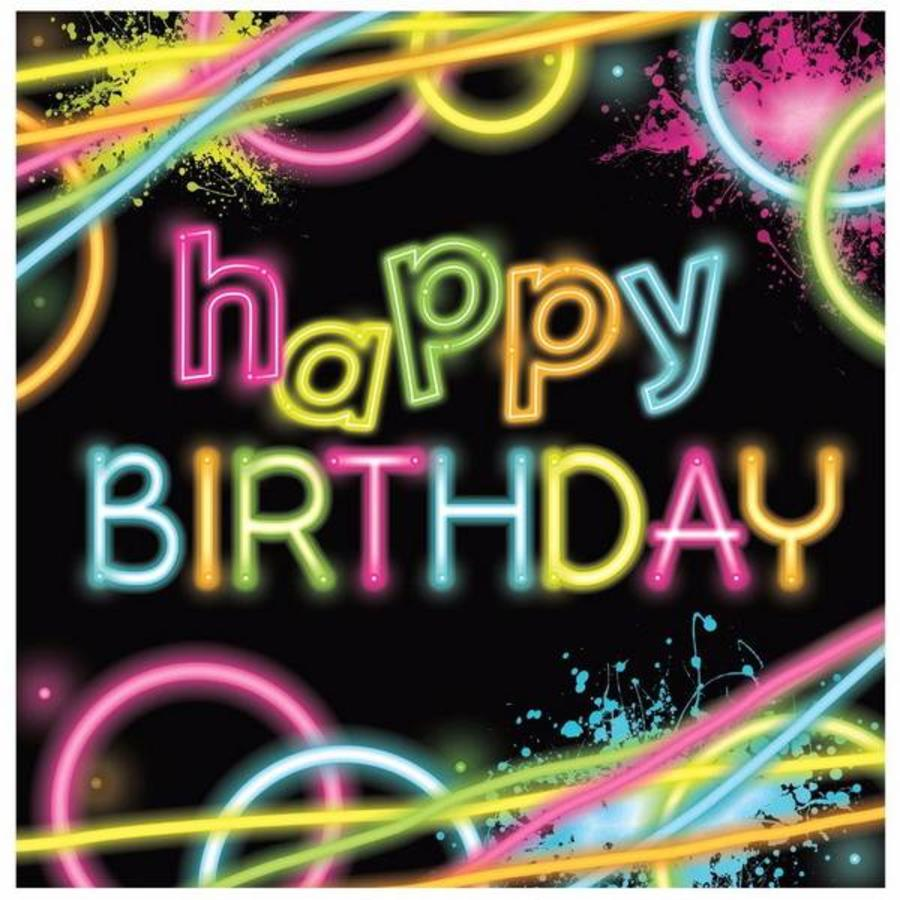 Servetten Happy Birthday NEON