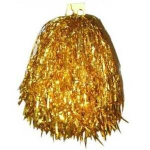 Cheerleader pompon goudkleurig per stuk
