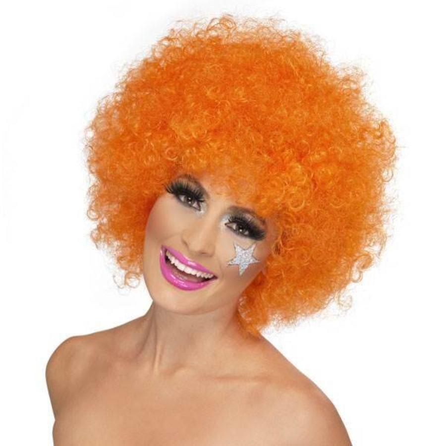 Pruik afro of clown oranje luxe