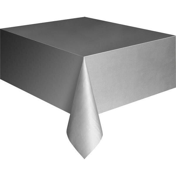 Tafelkleed zilverkleurig plastic